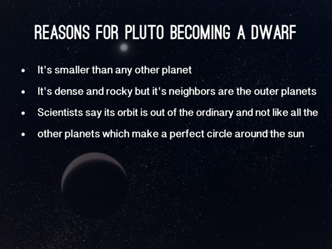 Pluto - Reasons for Pluto Becoming a Dwarf